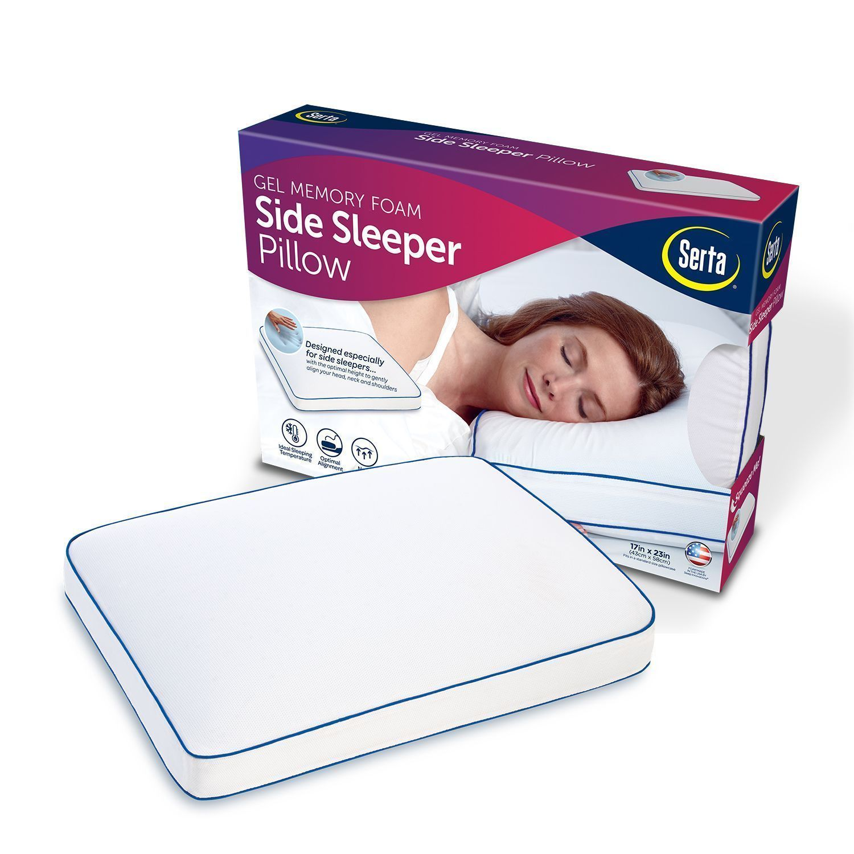 Serta Gel Memory Foam Side Sleeper Pillow Comfort Free Shipping NEW|NO SALES TAX