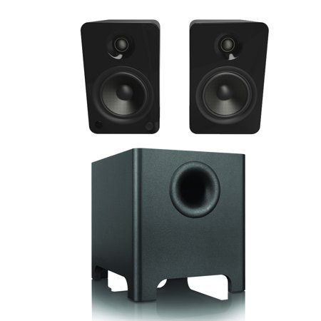 Kanto Yu6 Gloss Black 2 1 System With Yuri Subwoofer   Built In Bluetooth  Phono Preamp  Mini Jack   Rca Inputs