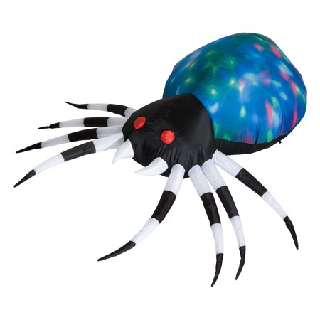 HOMCOM 5' Long Outdoor Lighted Airblown Inflatable Halloween Lawn Decoration - Giant Scary Spider - Not So Scary Halloween Disneyland