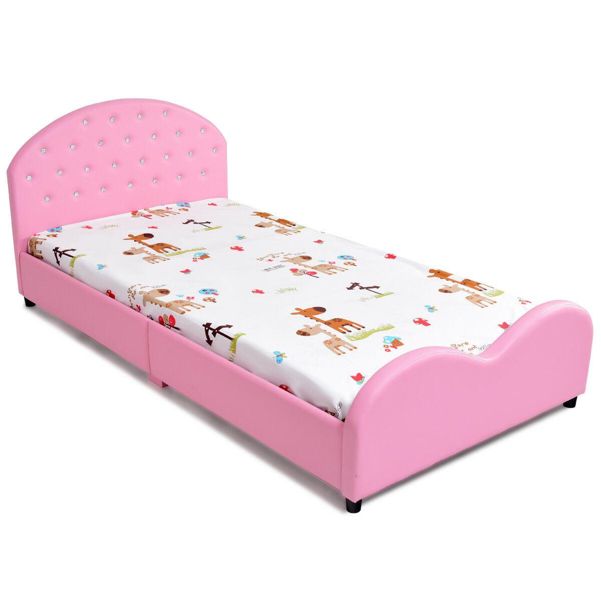 kids pu upholstered platform wooden princess bed bedroom