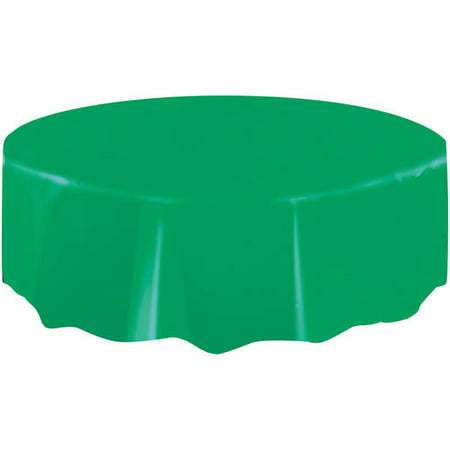(2 pack) Plastic Round Tablecloth, 84 in, Emerald Green, 1ct - Round Plastic Tablecloth
