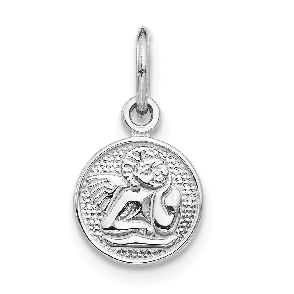 14k White Gold Small Polished Angel Charm (0.6in long x 0.5in wide)
