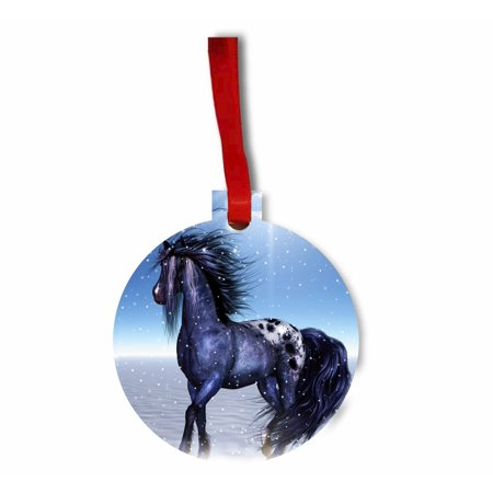 Whimsical Stallion Winter Fantasy Flat Round Shaped Hardboard Hanging Christmas Holiday Tree Ornament Made in the U.S.A. - Whimsical Trees