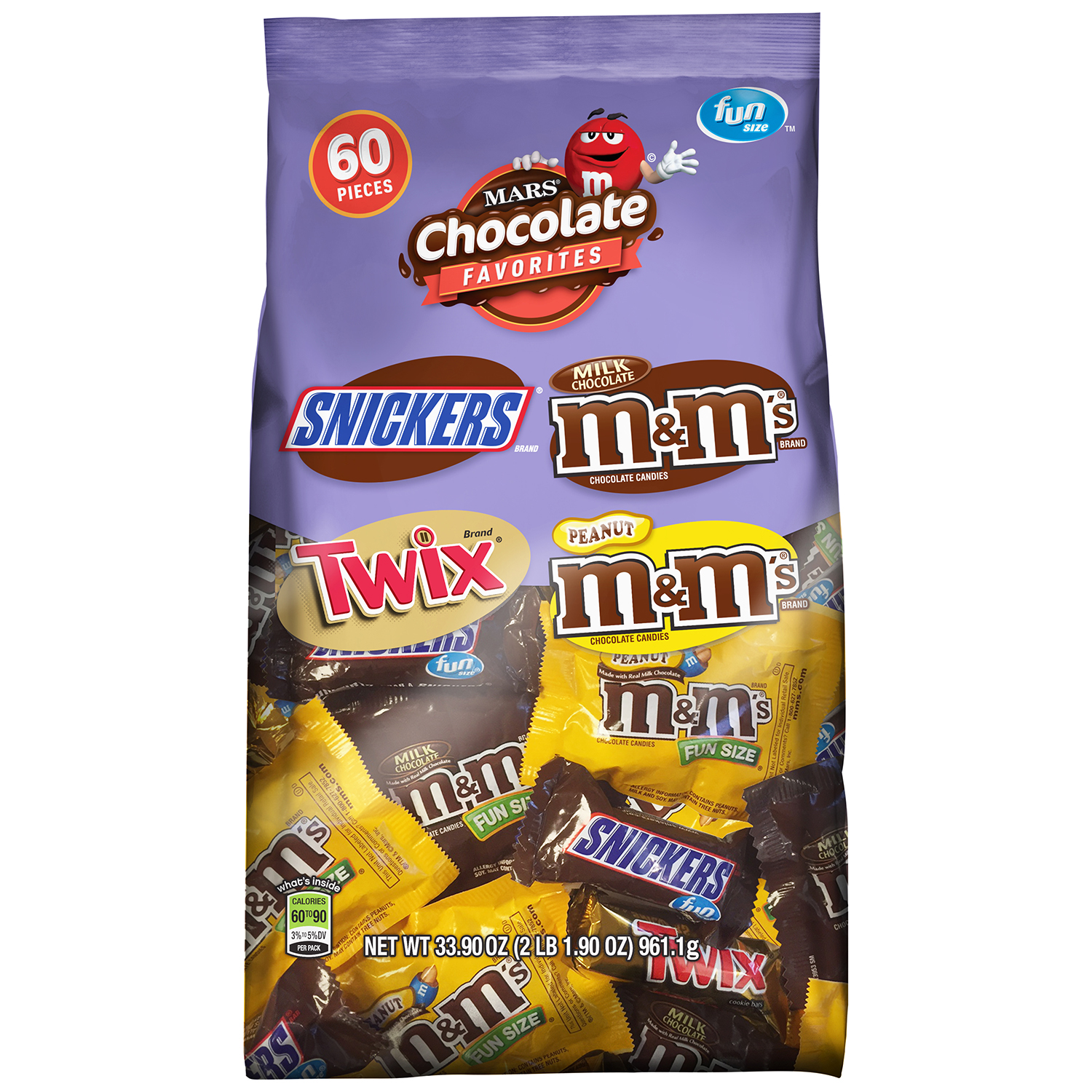 MARS Chocolate Favorites Fun Size Candy Bars Variety Mix Bag (TWIX, SNICKERS, M&M'S Brands), 33.9 oz 60 Pieces