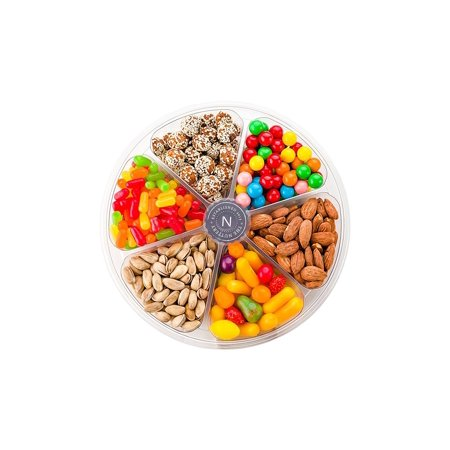 The Nuttery Freshly Natural Roasted and Salted Nuts and Sweet Candy Gift Basket- 6 Sectional Tray for Gift- Candy and Nuts Assortment