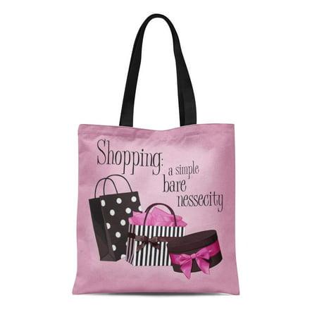 LADDKE Canvas Tote Bag Hat Shopping Box Shopper Love Polka Dot Bow Girly Reusable Handbag Shoulder Grocery Shopping (Dots Shoppers)