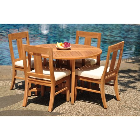 Outdoor Dining Set Round Table.Grade A Teak Dining Set 4 Seater 5 Pc 48 Round Butterfly Table And 4 Osborne Armless Chairs Outdoor Patio Wholesaleteak Wmdswvm