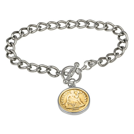 24KT Gold Plated Silver Seated Liberty Dime Silvertone Coin Toggle Bracelet