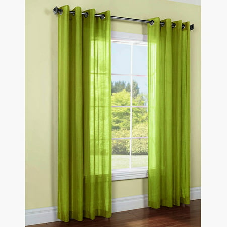 1 PANEL MIRA  SOLID LIME GREEN SEMI SHEER WINDOW FAUX SILK ANTIQUE BRONZE GROMMETS CURTAIN DRAPES 55 WIDE X 108