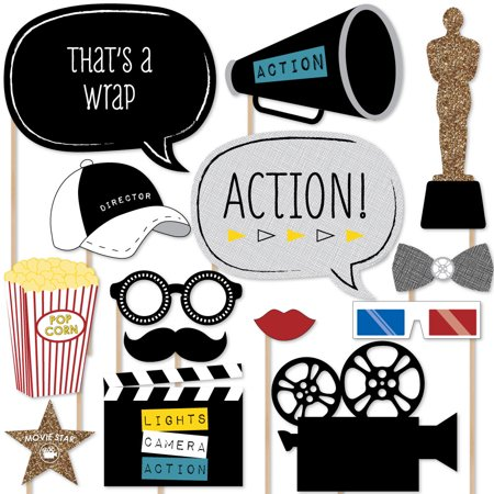 Movie - Hollywood Party Photo Booth Props Kit - 20 Count - Party Photo Booth