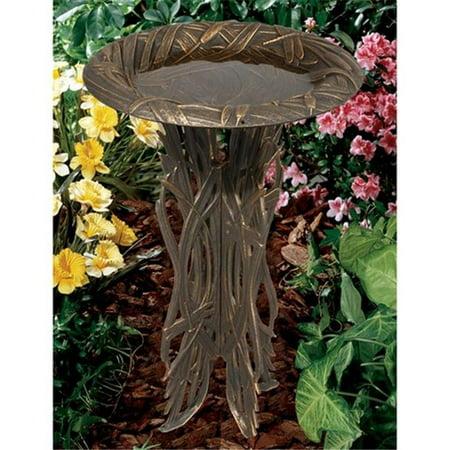 Whitehall Products 00164 Dragonfly Birdbath & Pedestal - Oil-Rubbed Bronze