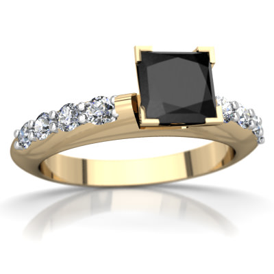 Black Onyx Engagement Ring in 14K Yellow Gold