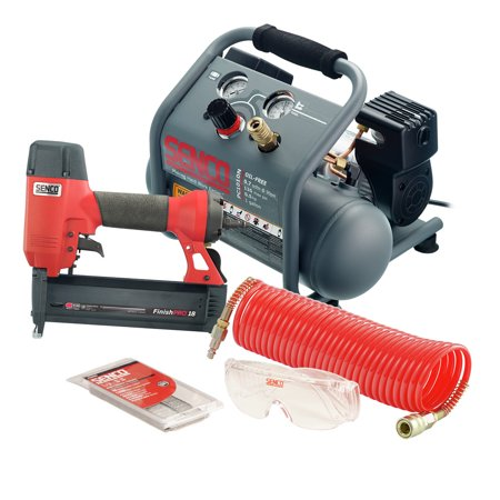 SENCO PC1343 18 Gauge Finish Nailer and Air Compressor Combo (Porter Cable Nail Gun And Compressor Kit)