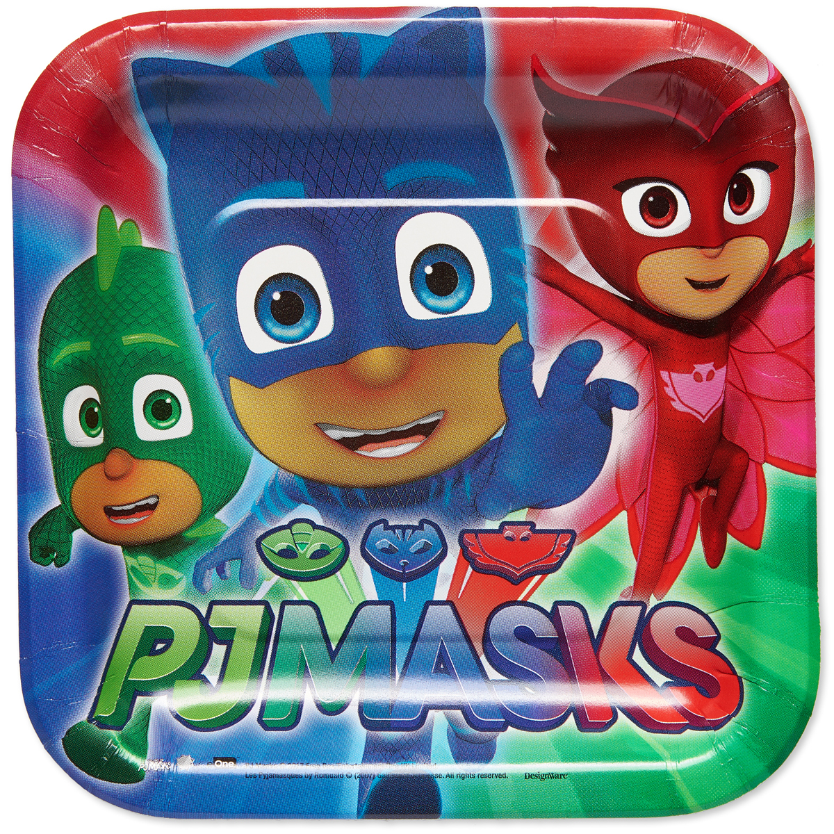 """7"""" PJ Masks Square Paper Party Plate, 8ct, 8ct by American Greetings"""