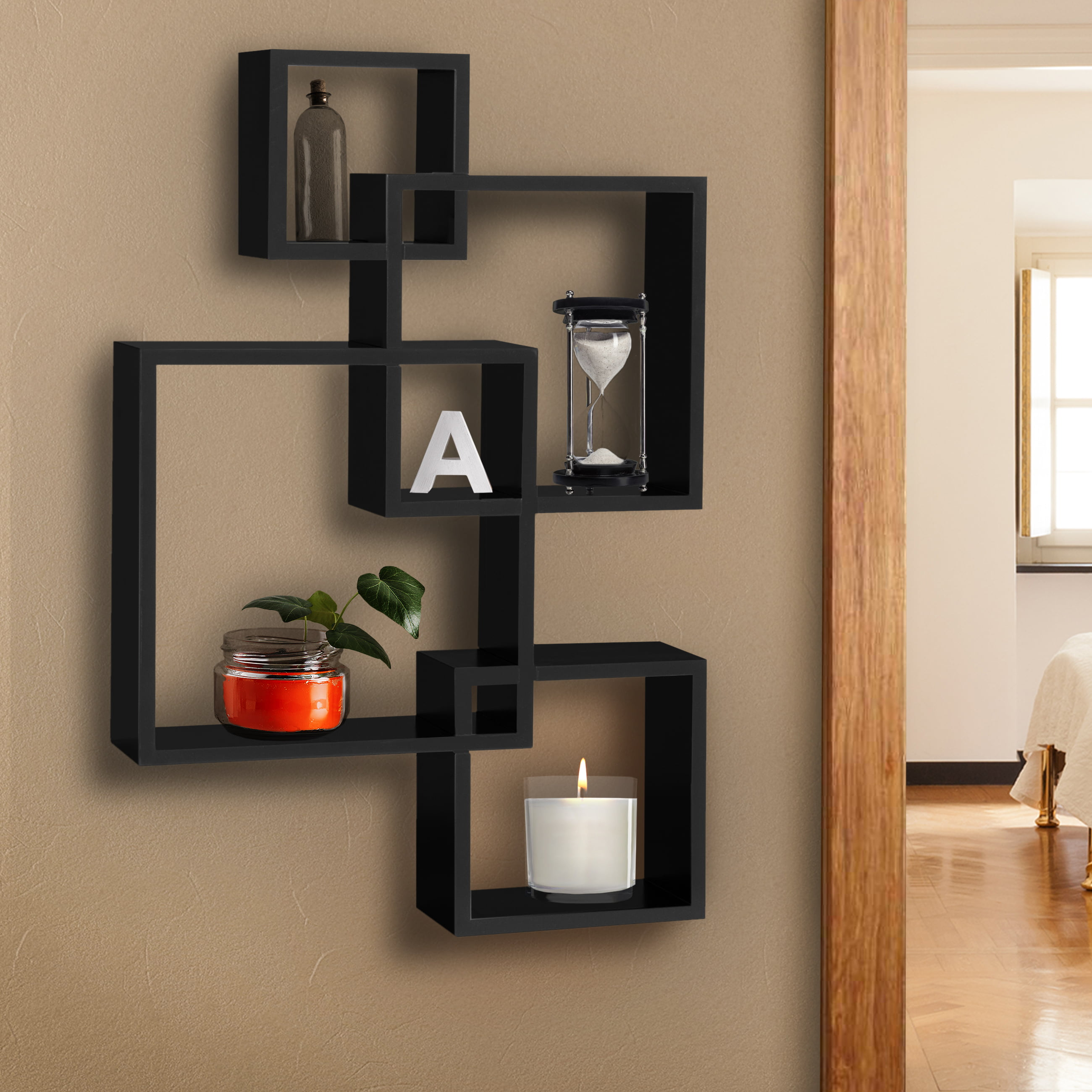 BCP Intersecting Squares Floating Shelf Wall Mounted Home Decor