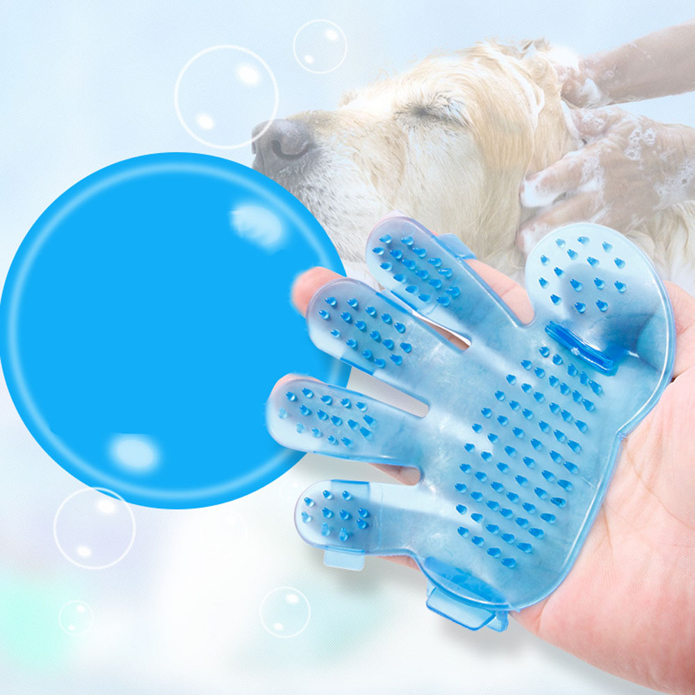 1 Pair Pet Wash Brush Glove Comb Grooming Bath Soft Tool Dogs Cats Cleaning Supplies