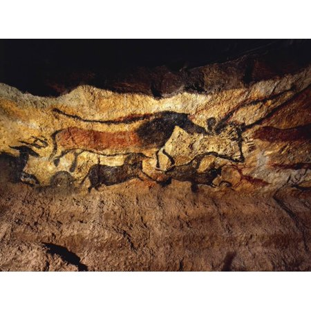 France, Vezere Valley, Images of Animals, Wall Painting in Lascaux Cave Print Wall
