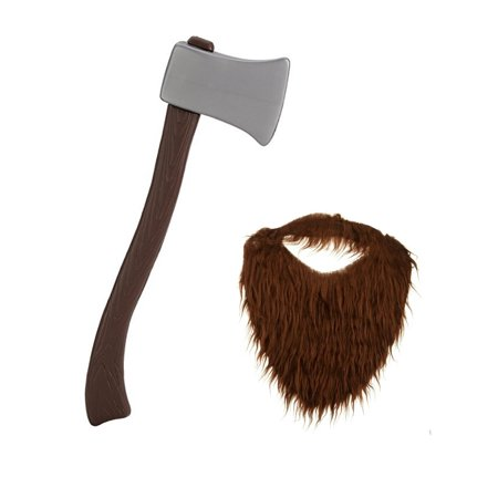Lumber Jack Costume (Lumberjack Brown Beard With Plastic Toy Fireman Firefighter Ax Axe Costume)
