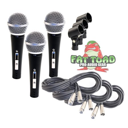- Dynamic Vocal Microphones with XLR Mic Cables & Clips (3 Pack) by Fat Toad Cardioid Handheld, Unidirectional for Studio Recording, Live Stage Singing, DJ, Karaoke Pro Audio 2 ft Mic Cords, 3-Pin Wire