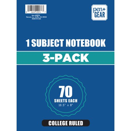 3 Pack Pen+Gear 1 Subject 70 Sheets Notebook, College Ruled