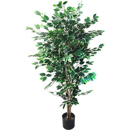Pure Garden 5 Foot Tall Topiary Artificial Tree with Variegated Leaves and Natural Trunk, Green