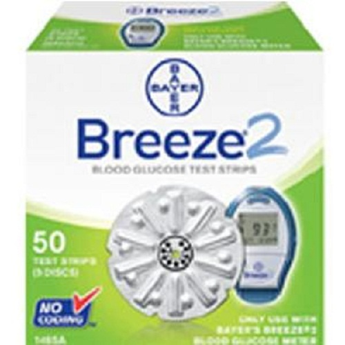 BREEZE 2 Blood Glucose Test Strip Disc (100 count)-Box of 100