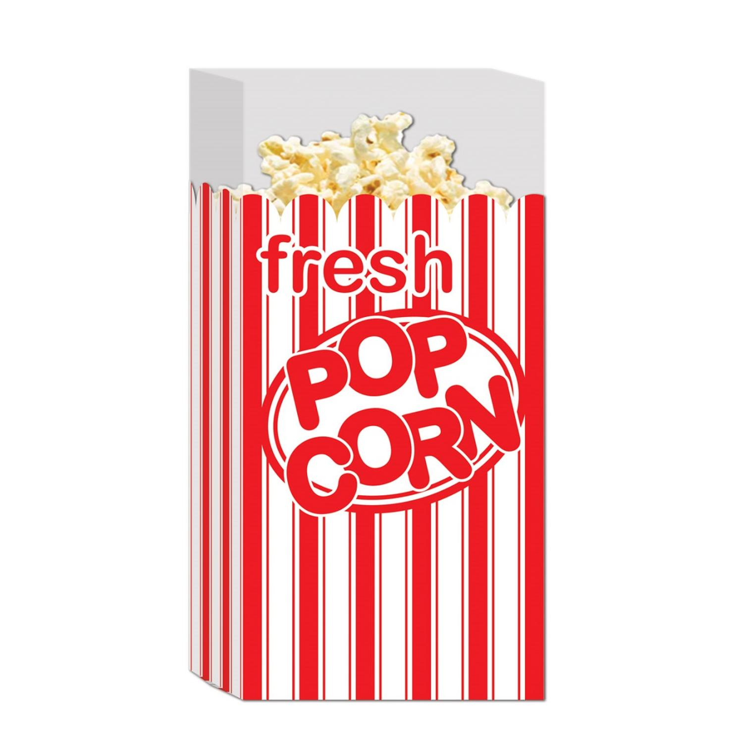 "Club Pack of 300 Red and White Striped ""Fresh Popcorn"" Movie Night Bags"