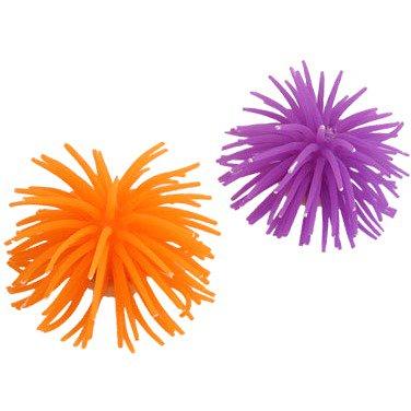 uxcell Aquarium Purple Orange Soft Silicone Manmade Corals Shaped Ornament 2pcs