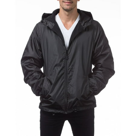 Pro Club Men's Fleece Lined Windbreaker Jacket, Small, Black ()
