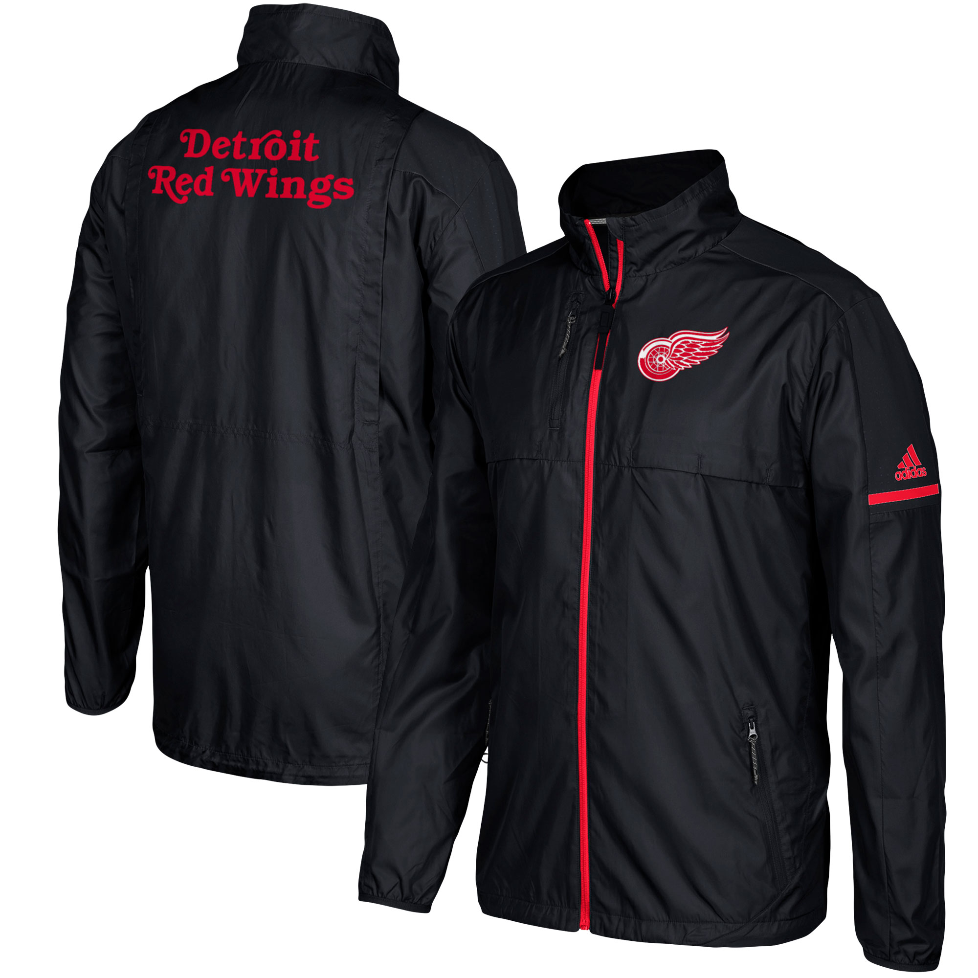 Detroit Red Wings adidas Authentic Rink Full-Zip Jacket - Black