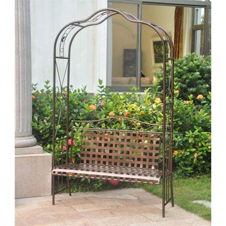 Pemberly Row Iron Patio Arbor Bench in