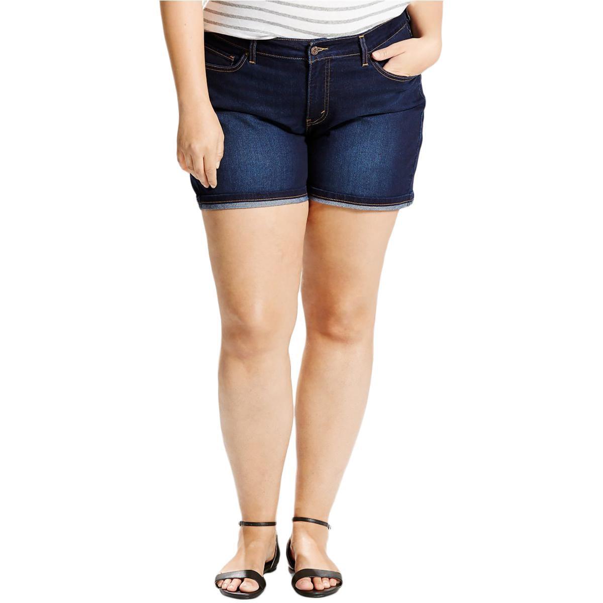 Levi's Womens Plus Denim Cuffed-Hem Denim Shorts