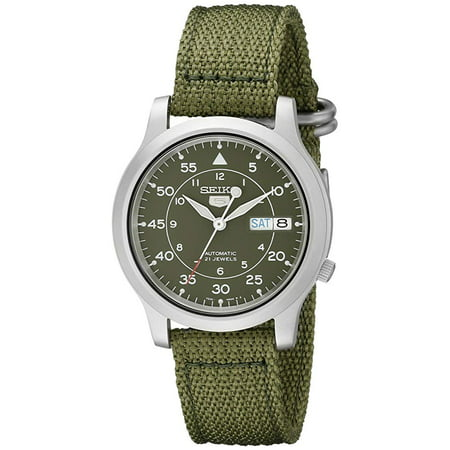 Seiko Mens 5 Military Green Canvas Automatic Watch, SNK805