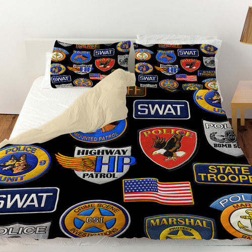 Manual Woodworkers & Weavers Police Patches Duvet Cover