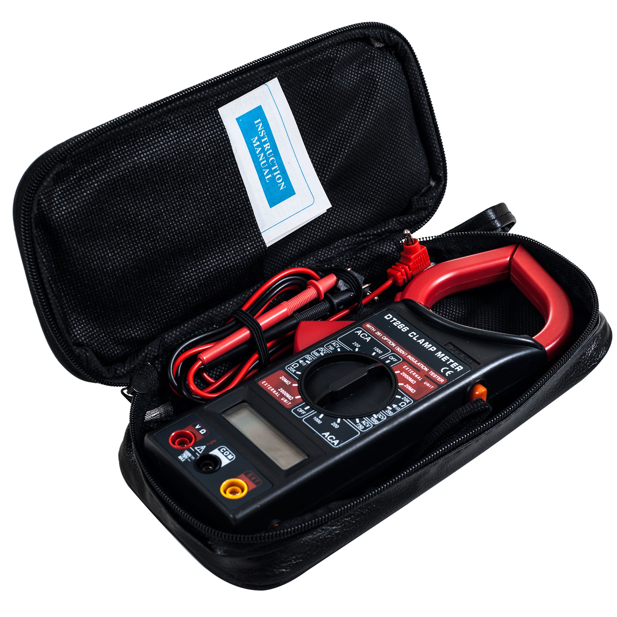 Wire Clamp Digital Multimeter with LCD Display and Needle Probes- Amp, Ohm and Voltage Tester for Outlets, Wire Continuity and Batteries by Stalwart