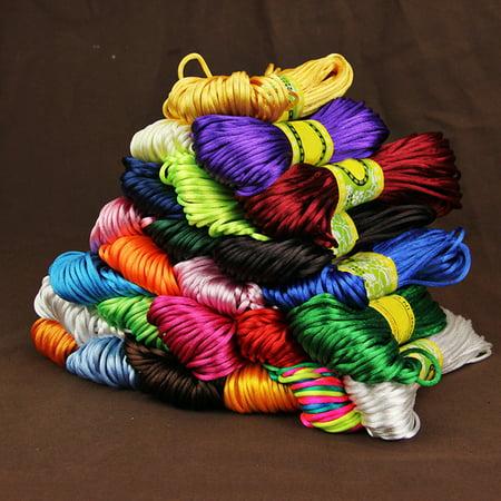 Heepo 20 Meters 2mm Rattail Satin Cord Nylon Macrame Braiding String Knitting Rope