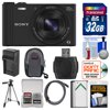 "Sony Cyber-Shot DSC-WX350 Digital Camera (Black) with 32GB Card + Case + Battery/Charger + Tripod + HDMI Cable Kit "" Kit Includes 12 Items with all Mfr-supplied Acc + Full USA Warranties 1) Sony Cyber-Shot DSC-WX350 Digital Camera (Black) 2) Transcend 32GB SecureDigital (SDHC) 300x UHS-I Class 10 Memory Card 3) Spare NP-BX Battery for Sony 4) Battery Charger for Sony NP-BX1 5) Precision Design 50 in PD-50PVTR Compact Travel Tripod 6) Precision Design PD-DC200 Compact Digital Camera Case 7) Precision Design HDMI to Micro-HDMI Gold Audio/Video Cable (6 ft/1.8m) 8) Precision Design SD/SDHC + MicroSD HC Card Reader 9) PD 5pc Complete Cleaning Kit 10) PD 8 SD Card Memory Card Case 11) LCD Screen Protectors 12) Image Recovery Software You cant do this with a smartphone. Snap pin-sharp, 18.2MP photos from afar with the 20x zoom Sony Cyber-Shot DSC-WX350 Digital Camera that fits in your pocket. Theres also ultra-smooth recording that minimizes shake while shooting on the move, perfect for video lovers. Like taking shots in near darkness but hate disturbing the mood with a flash? The Exmor R CMOS image sensor harnesses lots of light to make candlelit moments really shine. Key Features: 20x Optical/40x Clear Image Zoom: Get amazingly close with 20x optical zoom plus 40x Clear Image digital zoom. Most digital zooms use electronic cropping to get closer to the subject, resulting in fuzzy images. With Clear Image Zoom the powerful processor compares patterns found in adjacent pixels and creates new pixels to match selected patterns, resulting in more realistic, higher-quality images. Clear Image Zoom doubles optical zoom for closer photos. Shake-free Footage: Shoot incredibly smooth video and still images thanks to the new BIONZ X processor and Optical SteadyShot with Intelligent Active mode. When the processor and image stabilization technology work together they deliver sharp, blur-free photos and footage in otherwise unsteady situations, like shooting video while walking or zoomed in. Pixel Power: With a 20.4-megapixel Exmor R CMOS sensor, capture high-resolution images that take full advantage of the cameras high-quality G lens. More pixels means you can enlarge, zoom in and crop your photos without losing detail. Advanced BIONZ X image processor technology reduces noise and graininess for incredibly crisp, clear images -- even in challenging low-light conditions, while sensor and processor working together enable 10fps, Anti Motion Blur, Hand-held Twilight and 1080p movie modes. Amazing HD Movies: Record crystal-clear movies at the highest resolution available with Full HD 1080/60p video capture (records in 29-minute segments). Stunning, fast-motion video with reduced distortion looks great when played back on your HDTV. Simple Connectivity to Smartphones: Now you can wirelessly share your photos and videos through simplified Wi-Fi/NFC (Near Field Communication) control. Even better, you can easily share media between your camera and a compatible Android device through convenient and quick NFC with just one touch. Simply tap devices together to establish a link no complicated setup is required. Lock-On AF for Enhanced Focusing: When shooting quick-moving subjects -- think kids playing soccer or a seagull in flight -- it can sometimes be difficult to maintain a crisp focus. Lock-On AF focuses on multiple points with subject recognition to keep your shot sharp, even in motion. Take more high-resolution pictures faster (up to 60MB/sec.) with this Transcend 32GB SecureDigital (SDHC) 300x UHS-I Class 10 Memory Card.Increase your shooting capacity with this powerful NP-BX1 Lithium-ion rechargeable battery.This Rapid Multi-voltage Charger pluugs directly in to your wall outlet or your cars 12V outlet, and charges your battery in approximately 60 to 90 minutes."""