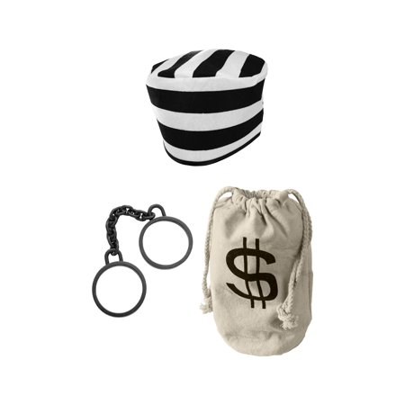 Prisoner Hat Bank Money Bag Shackles Convict Jailbird Inmate Jail Costume Kit](Bank Robber Costumes)