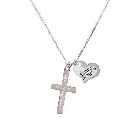 Stainless Steel Jeremiah 29:11 - I Have Plans for You Engraved Cross - Wonder Woman Heart Necklace](Wonder Woman Charm)
