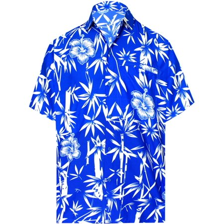 d5f0cdd9 HAPPY BAY - Hawaiian Shirt Mens Beach Aloha Camp Party Casual Holiday Short  Sleeve Bamboo Tree Print A - Walmart.com