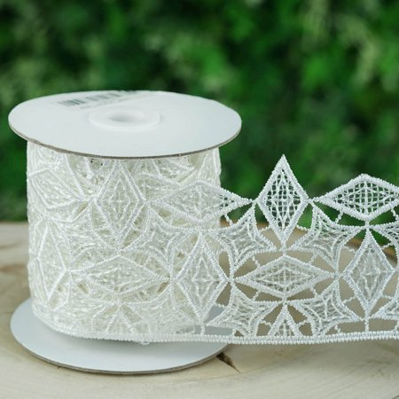 Efavormart Shine Bright Clear Sequined Crocheted Heavy Lace Ribbon Trim 3.5