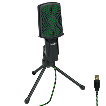 PC USB Condenser Gaming Microphone - Computer Streaming Mic Adjustable Stand Plug and Play Design and Mute Switch by ENHANCE - For Skype, Conference Calls, Twitch, Youtube, Discord and
