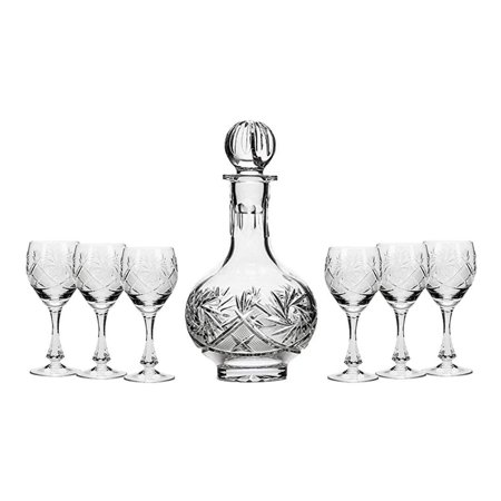 Set of 7 16-Oz Vintage Cut Crystal Liquor Decanter Set with 6 Sherry Glasses (4)