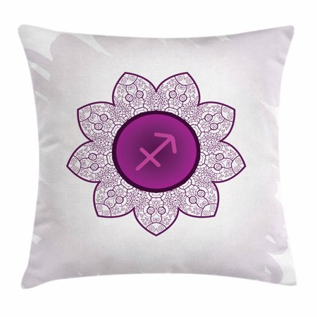 Zodiac Sagittarius Throw Pillow Cushion Cover, Oriental Mandala Design with Horoscope Symbol Floral Arrangement, Decorative Square Accent Pillow Case, 16 X 16 Inches, Purple and White, by - Oriental Zodiac