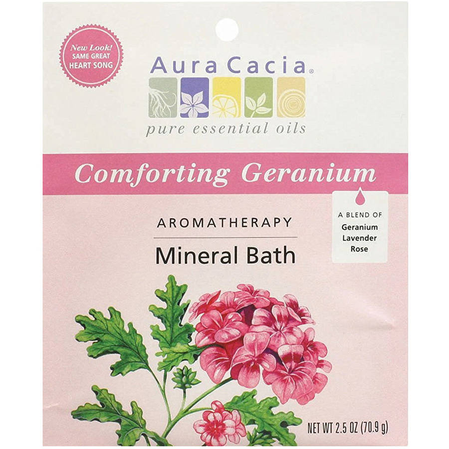 Aura Cacia Bath Mineral Geranium Comforting, 2.5 OZ (Pack of 6)