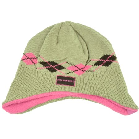 New Hampshire Argyle Ear Flap Knit Beanie Toddler Khaki Pink State USA Hat Girl