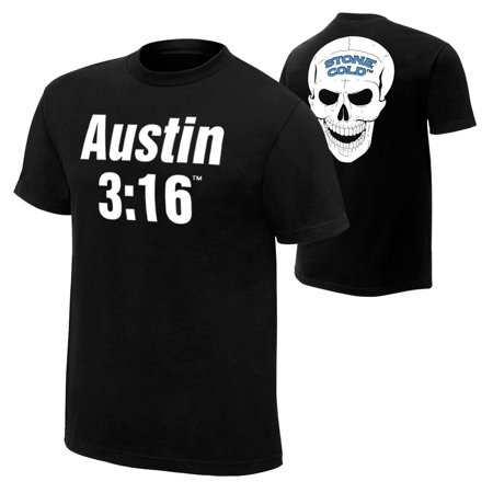 Official WWE Authentic Stone Cold Steve Austin 3:16 Retro T-Shirt Black (Stone Cold Steve Austin Vs Booker T)