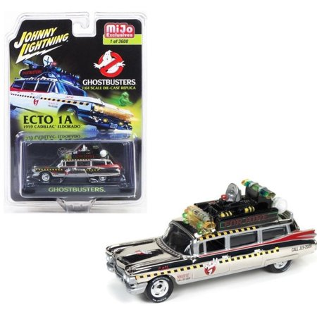 1959 Cadillac Eldorado Ghostbusters ECTO 1A CHROME VERSION 1/64 Scale Diecast Car Model By Johnny Lightning (1959 Old Cars)