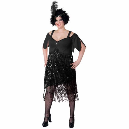 Flapper Halloween (Lava Diva Flapper Women's Plus Size Adult Halloween)
