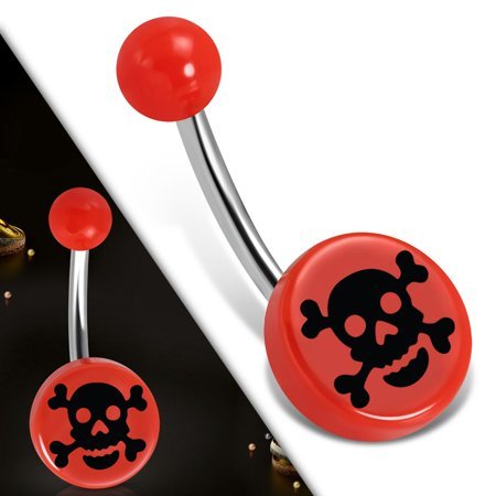 Stainless Steel Belly Button Navel Ring with Red Acrylic Crossbones Skull Round